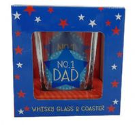 BRAND NEW BOXED No 1 DAD WHISKY GLASS AND COASTER GIFT SET. GREAT GIFT FOR DAD....